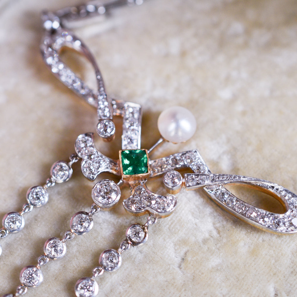 Edwardian Emerald & Diamond Chandelier Necklace by Hancocks & Co