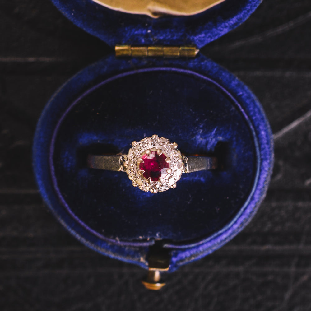Art Deco Ruby & Diamond Round Cluster Ring