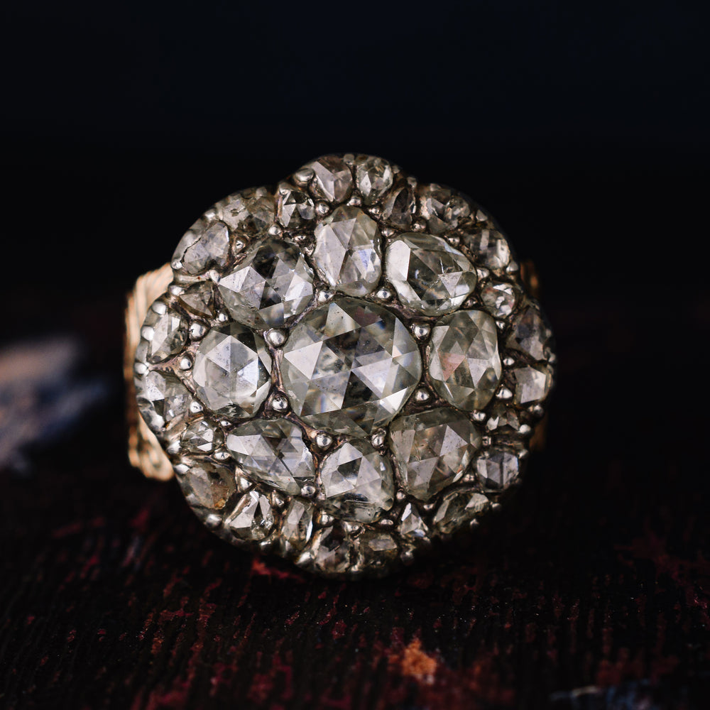 Georgian Rose Cut Diamond Cobblestone Ring
