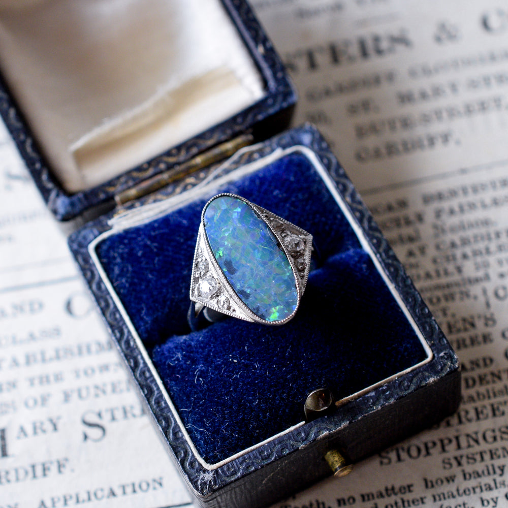 Edwardian Black Opal & Diamond Cocktail Ring