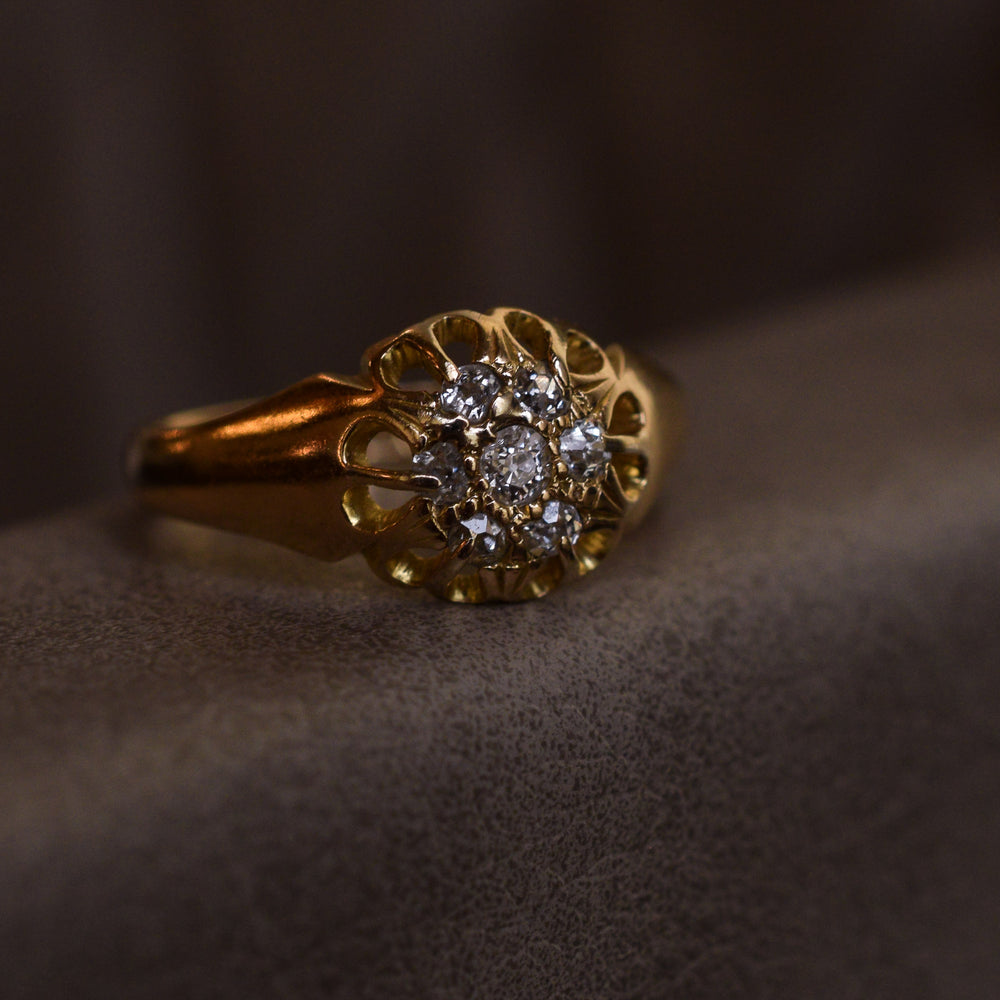 Edwardian Diamond Scalloped Cluster Ring