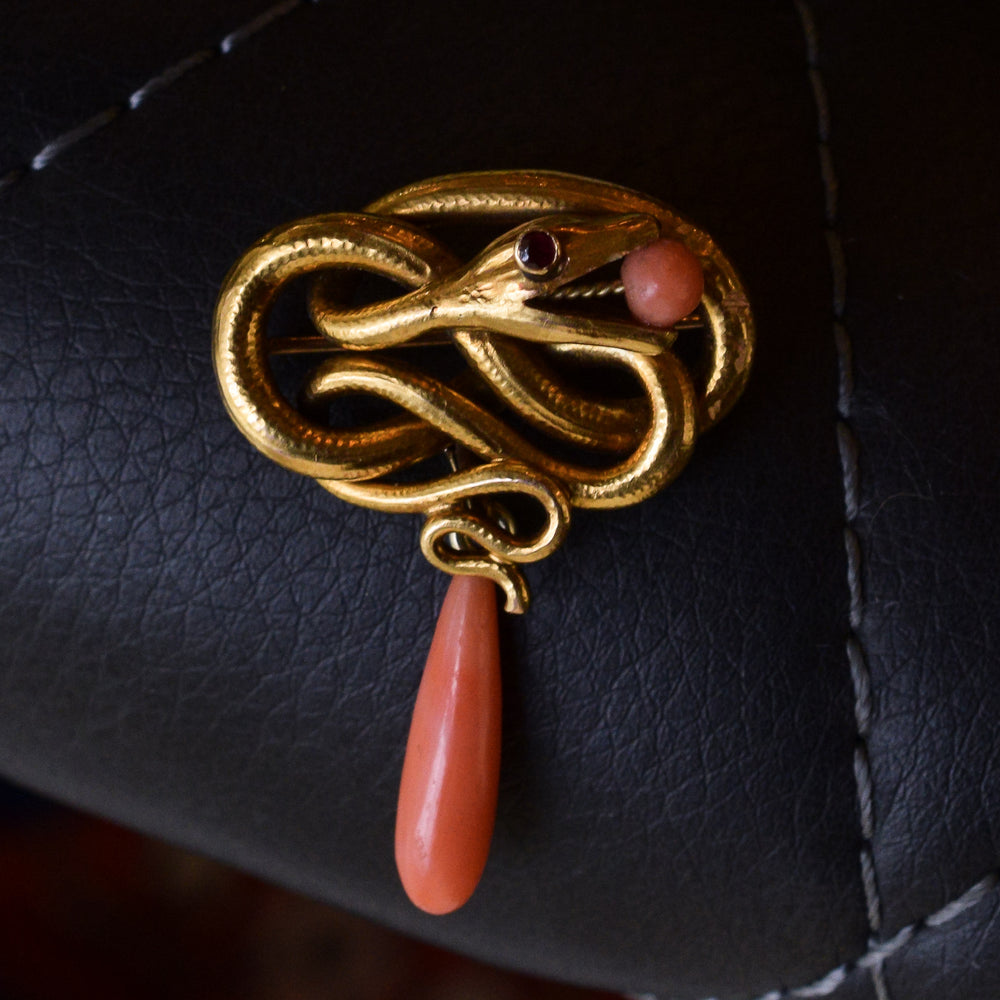 Early Victorian Coral Serpent Brooch