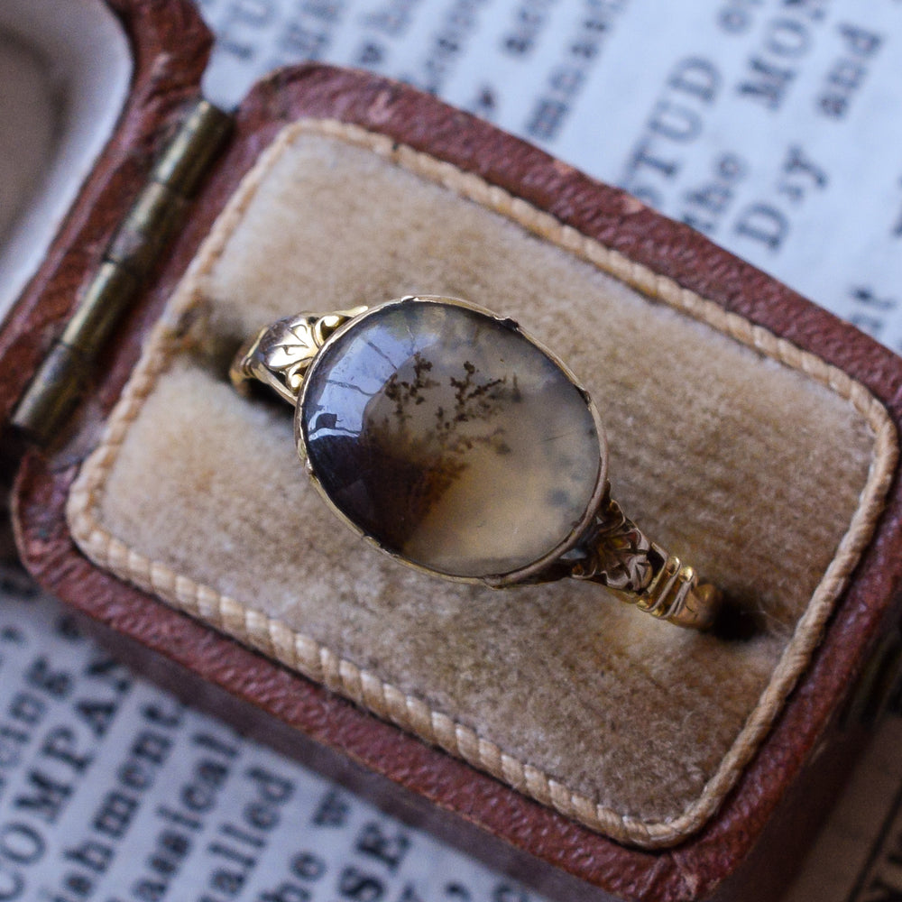 Georgian Dendritic Agate Landscape Ring