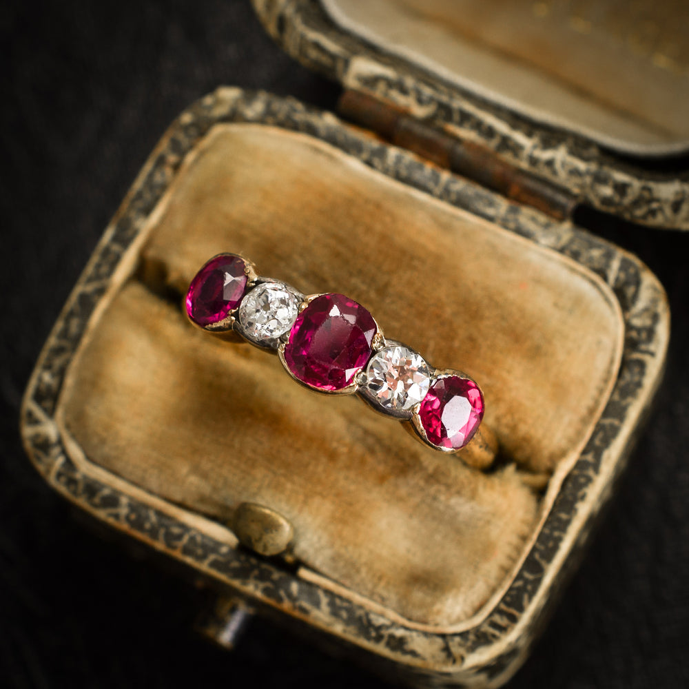 Late Victorian Ruby & Diamond 5-Stone Ring