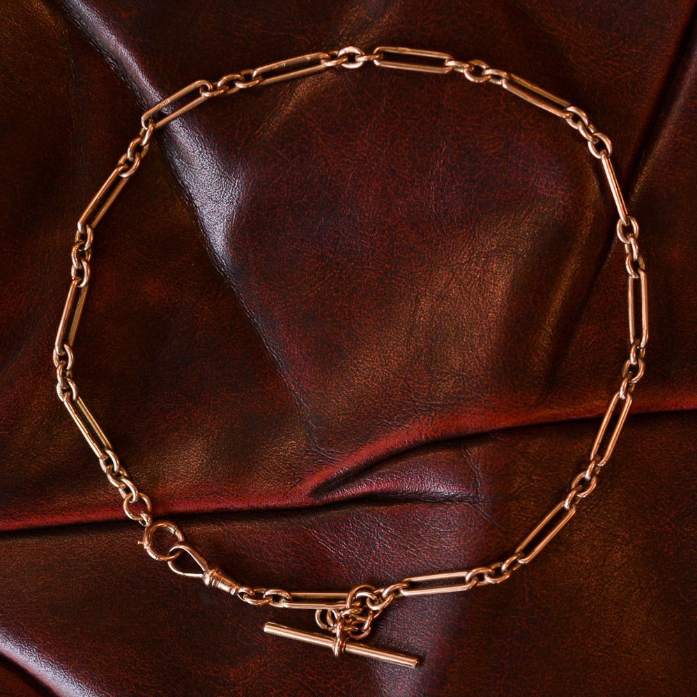 Victorian Rose Gold Trombone Link Chain