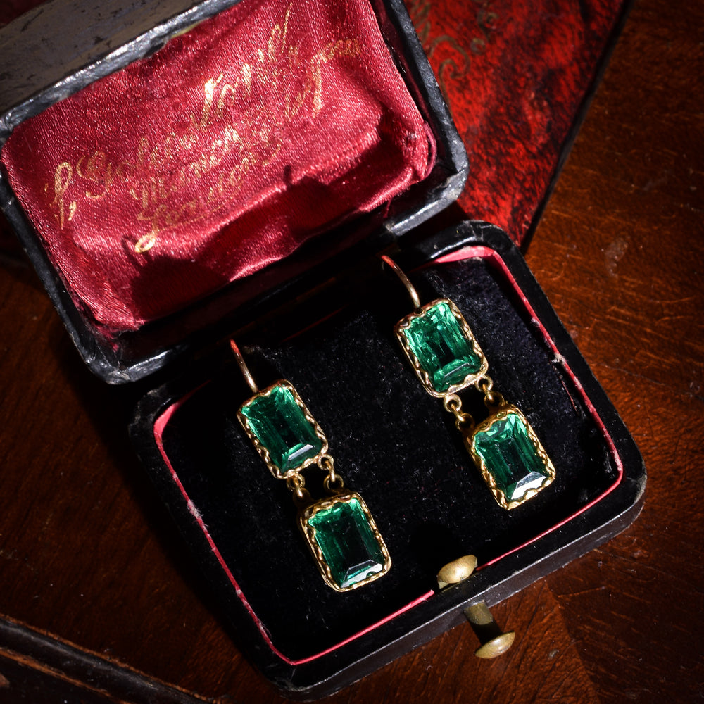 Georgian Emerald Paste Earrings