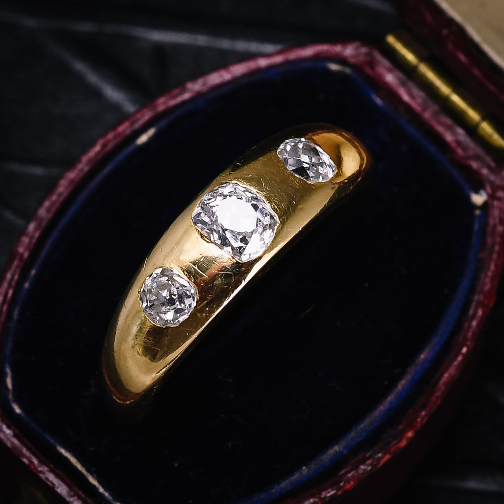 Victorian Old Mine Cut Diamond Three-Stone Gypsy Ring