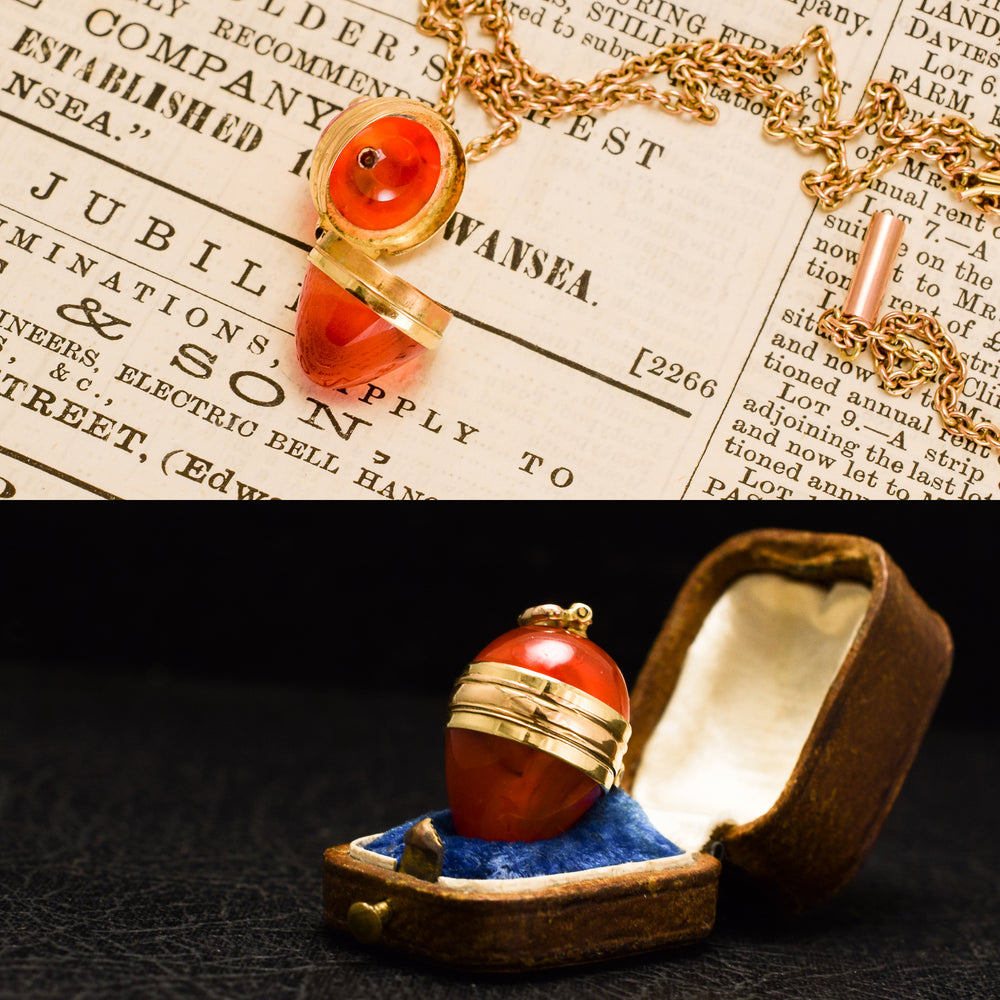 Georgian Carnelian Miniature Egg Pendant