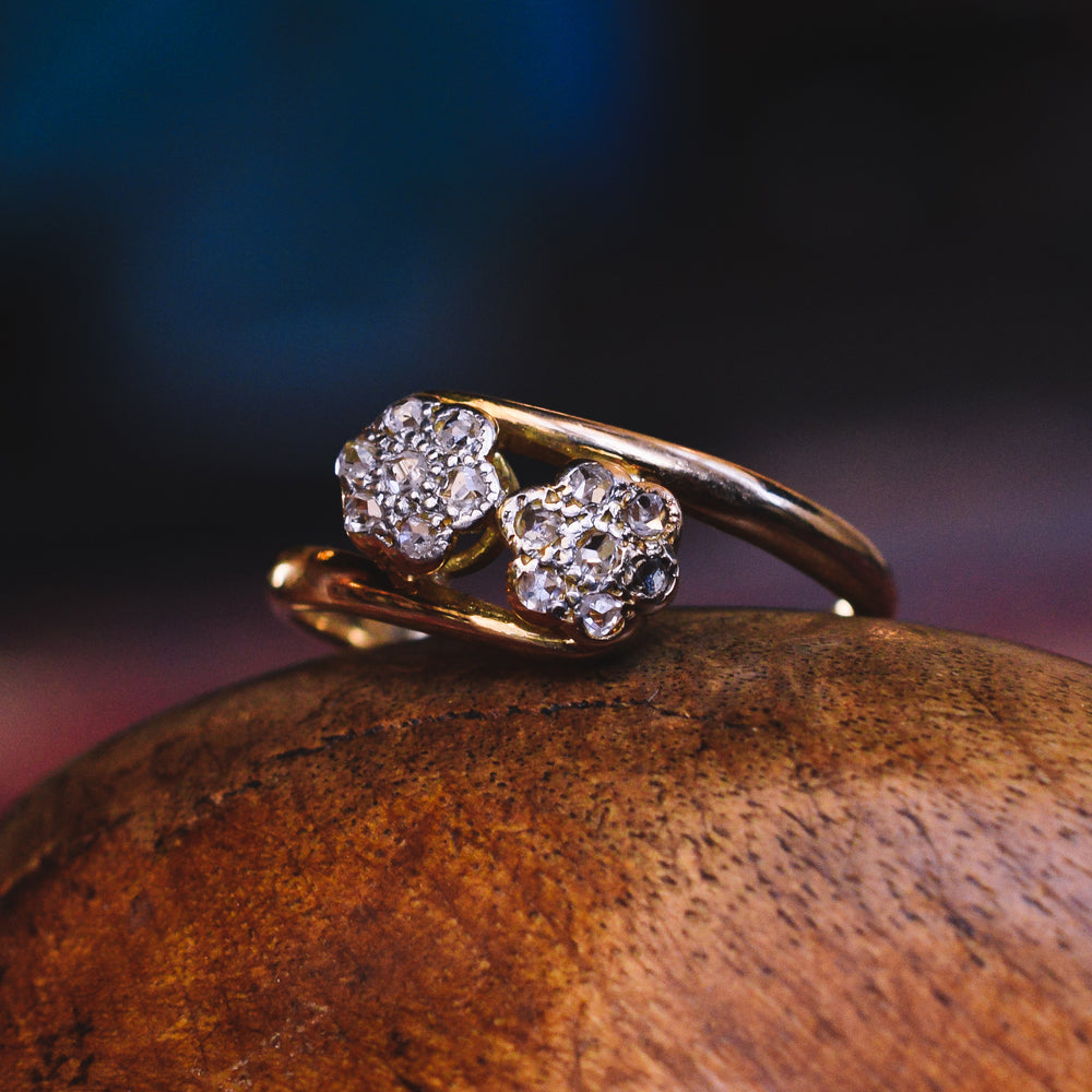 Edwardian Diamond Double Daisy Ring