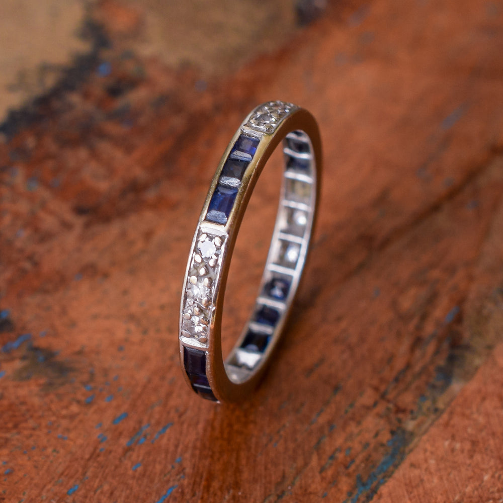 Art Deco Blue Sapphire & Diamond Eternity Ring