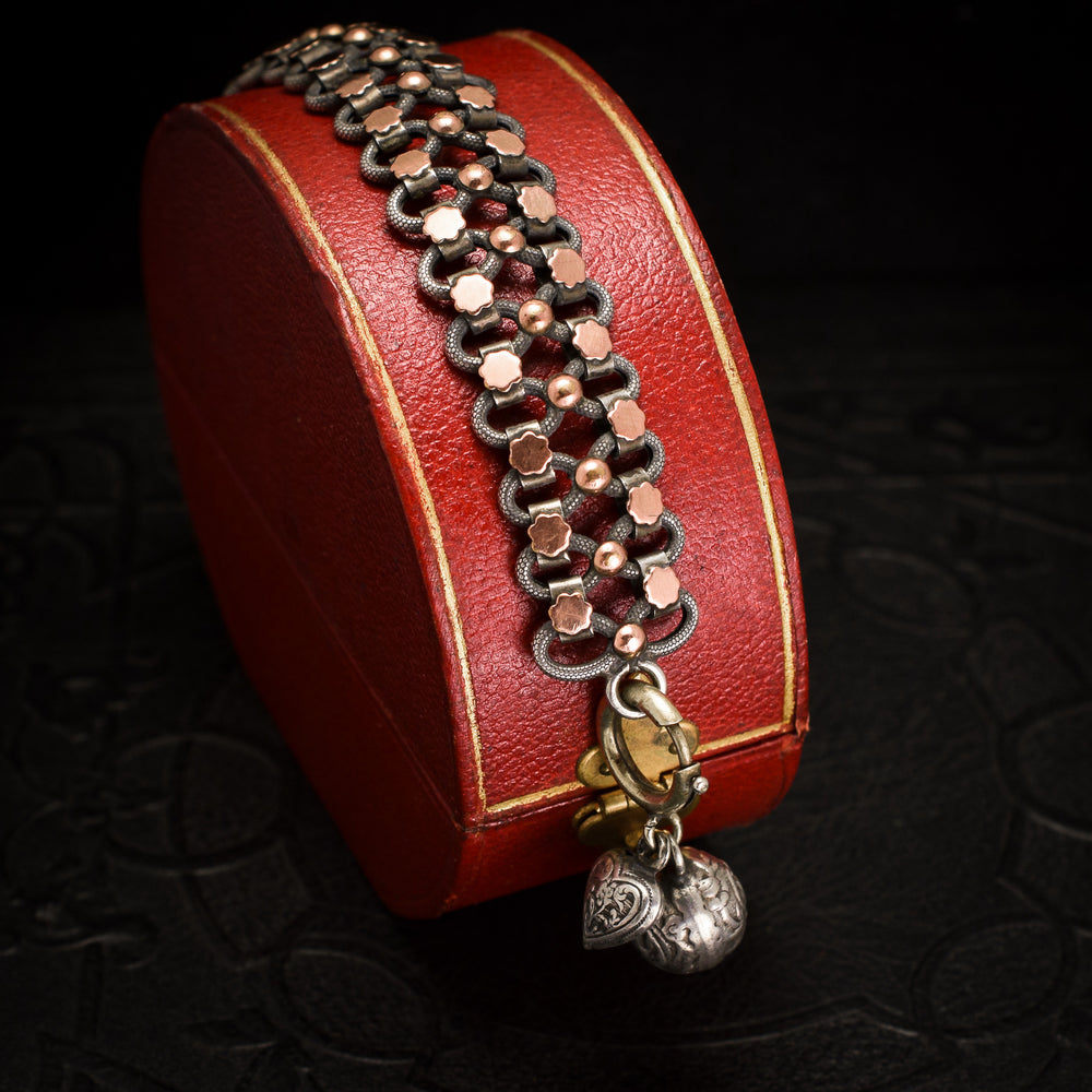 Victorian Silver & Rose Gold Bracelet with Charms