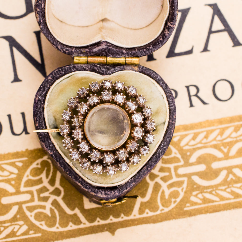 Georgian Diamond Halo Locket Brooch