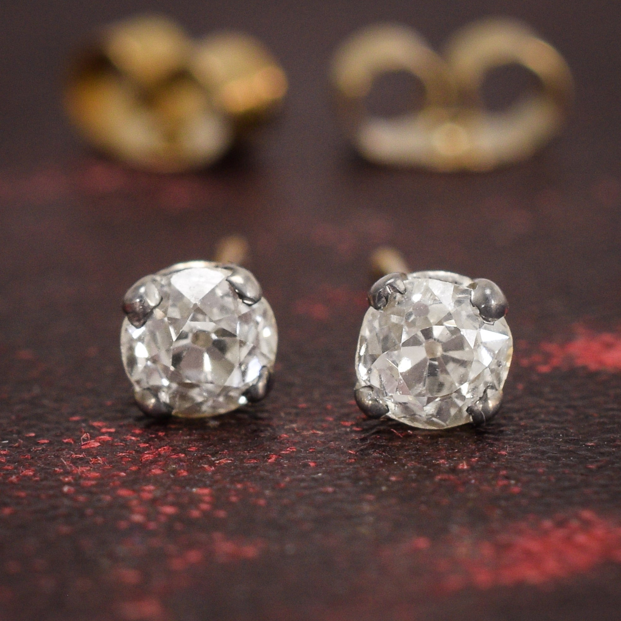 diamond in from gold half image stud earrings carat womens antique white