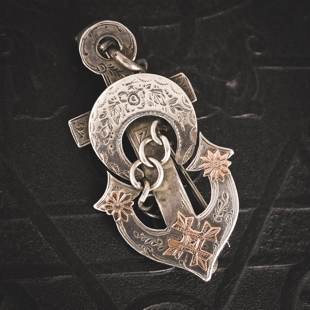 Victorian Silver Hope Anchor Brooch