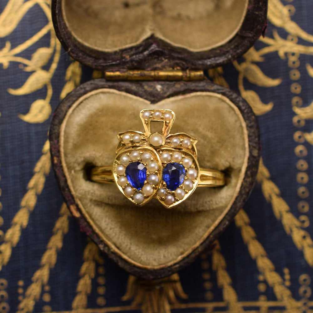 Victorian Sapphire & Pearl Double Heart Ring