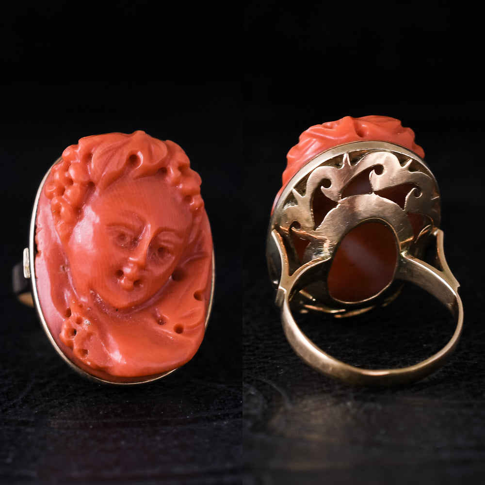 Victorian Coral Ampelos Cameo Ring