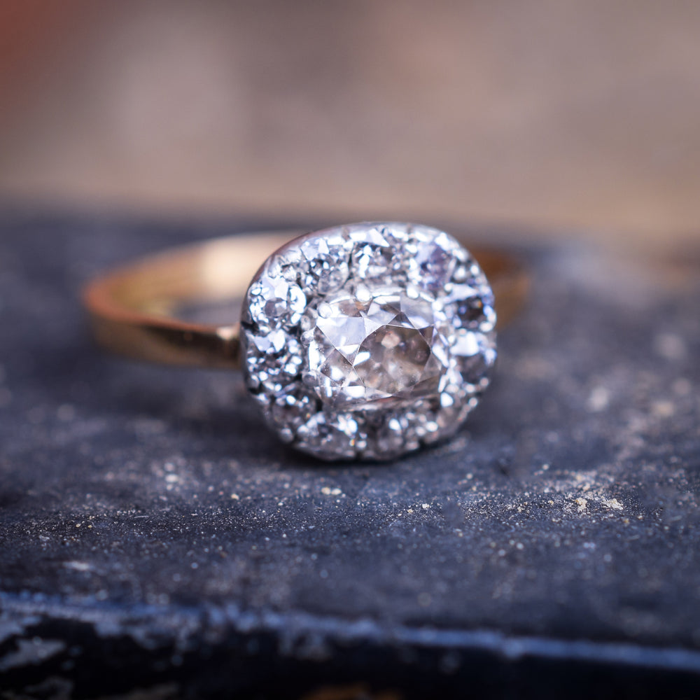 Georgian Cushion Cut Diamond Cluster Ring
