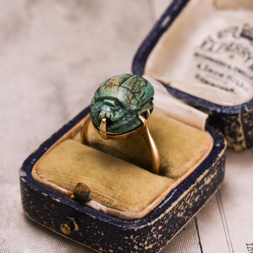 Victorian Egyptian Revival Faience Scarab Ring