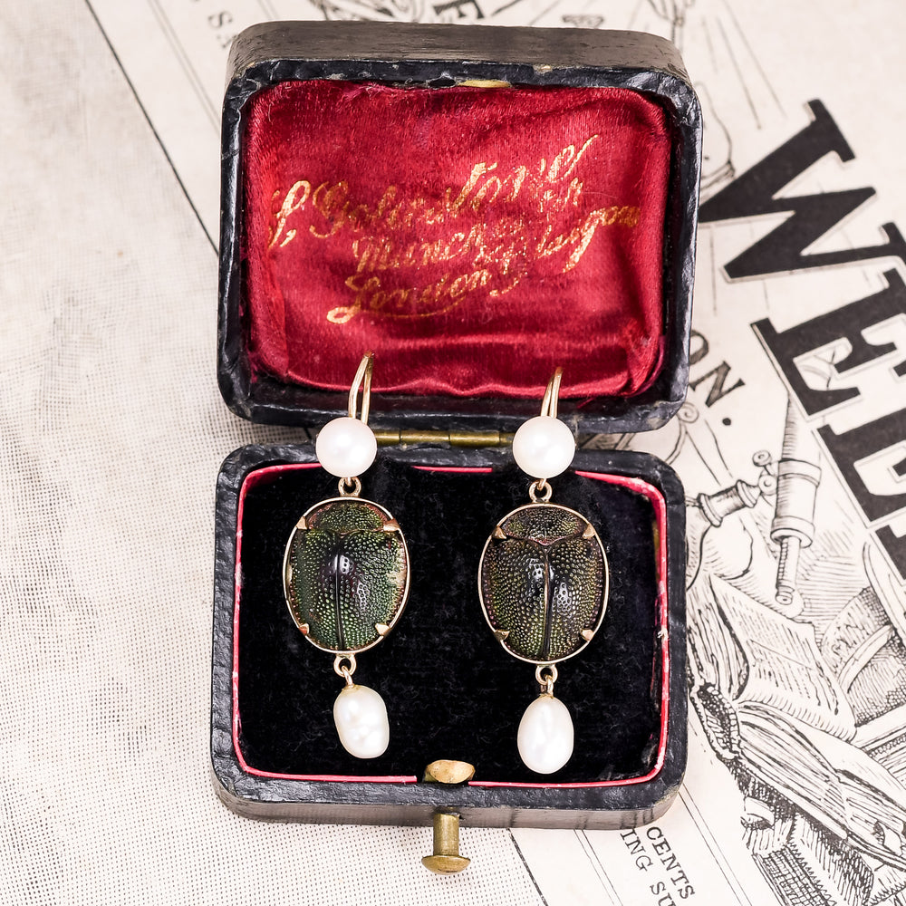 Victorian Egyptian Revival Scarab & Pearl Earrings