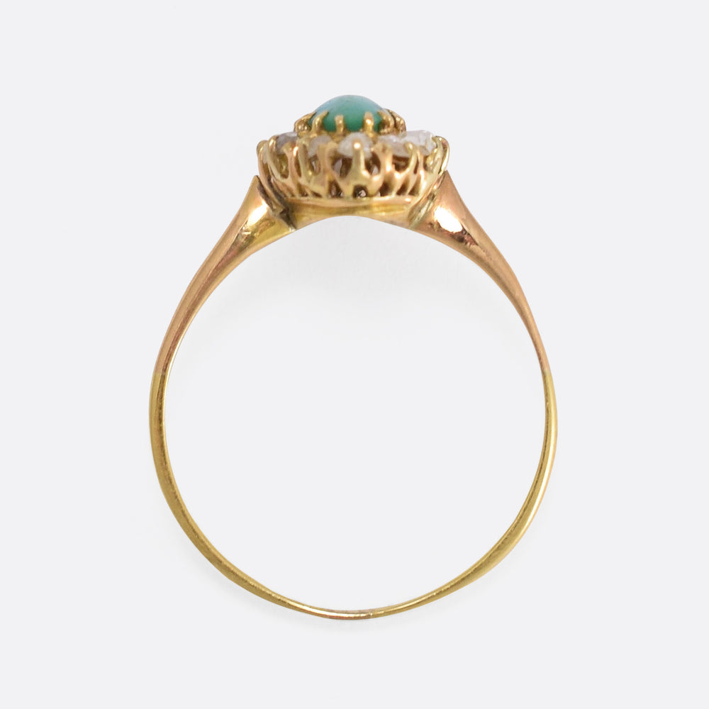 Victorian Turquoise & Diamond Marquise Ring - Butter Lane Antiques
