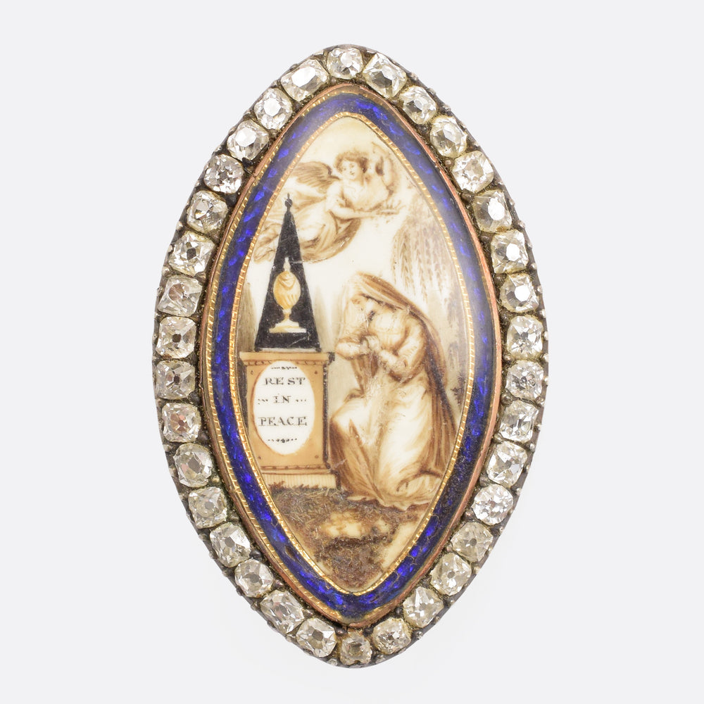 "Georgian Diamond Navette ""Rest In Peace"" Memorial Brooch - Butter Lane Antiques"