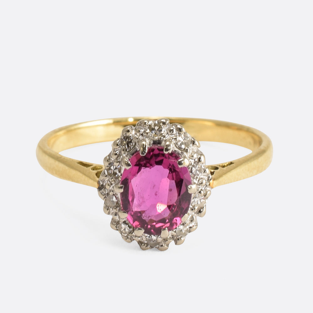 Edwardian Pink Sapphire & Diamond Cluster Ring - Butter Lane Antiques