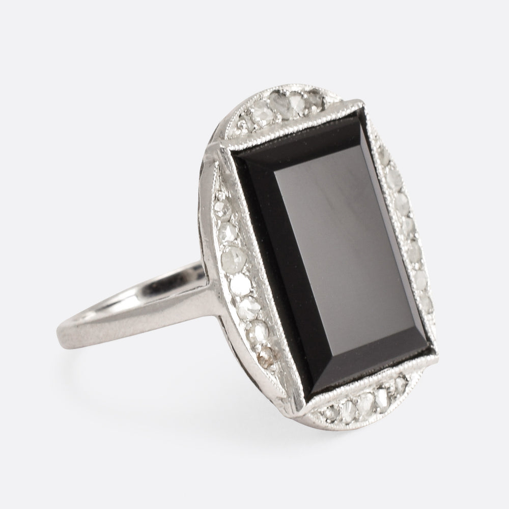 Art Deco Onyx Slab & Diamond Cocktail Ring - Butter Lane Antiques
