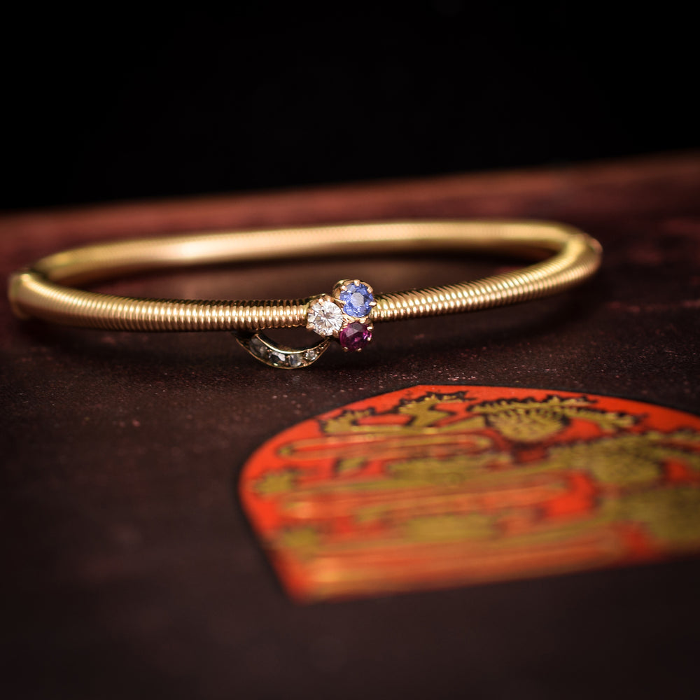 Imperial Russian Sapphire, Ruby & Diamond Clover Bangle