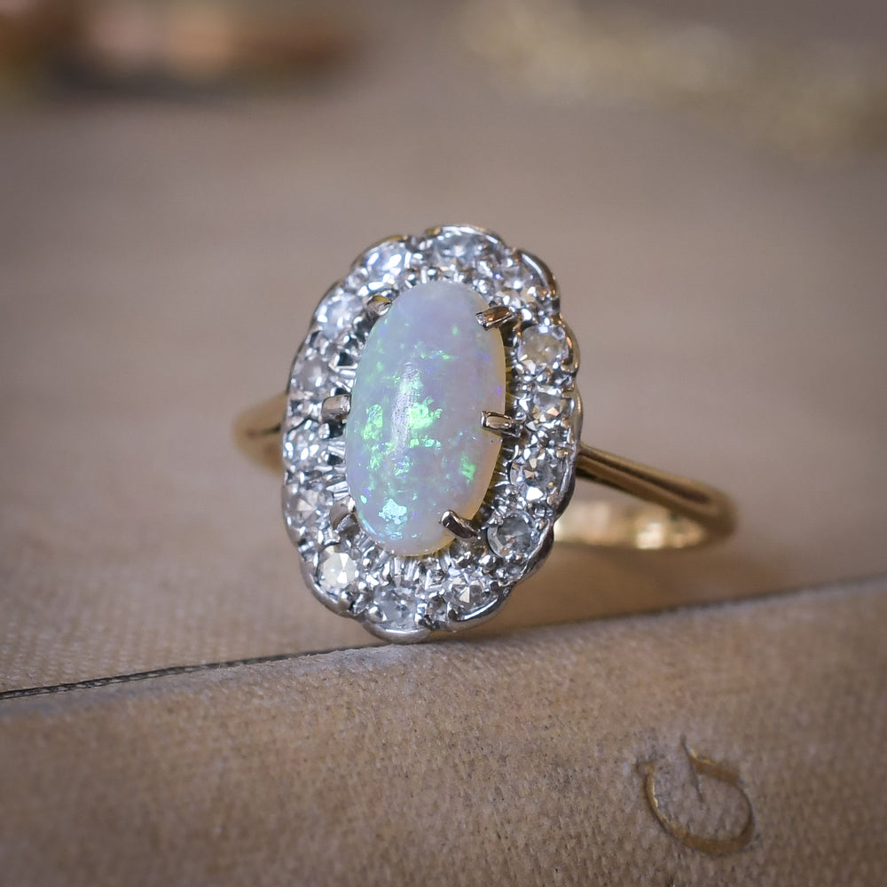 Edwardian Opal & Diamond Oval Cluster Ring