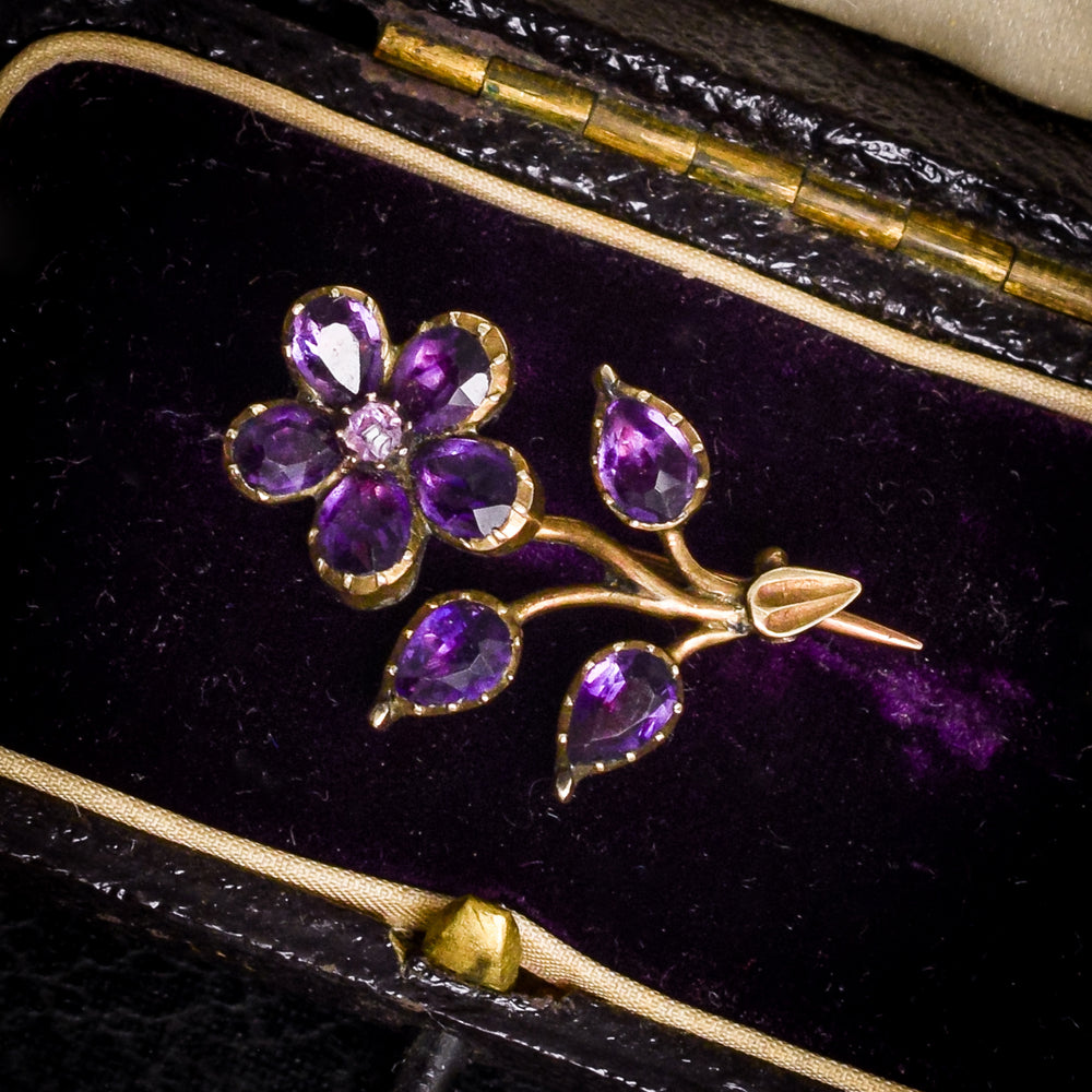 Georgian Amethyst Forget-Me-Not Flower Brooch
