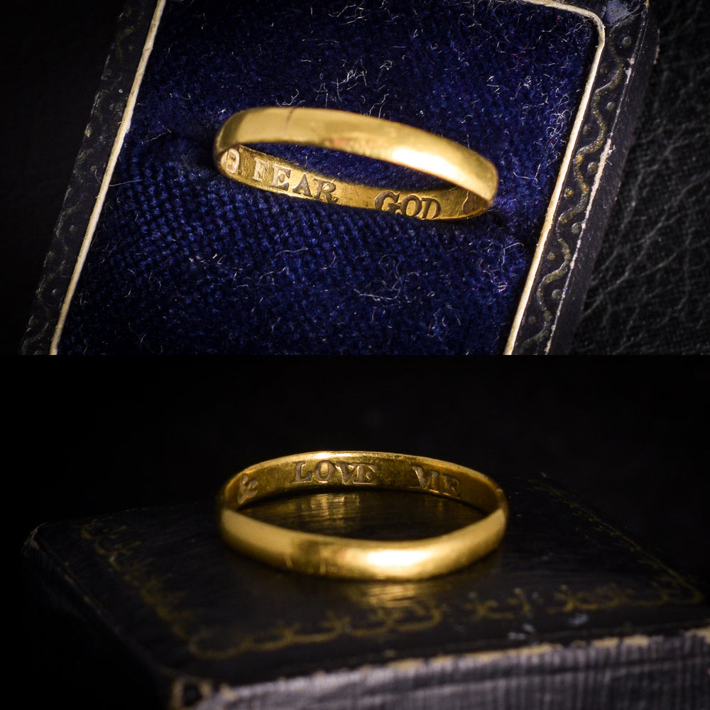 18th Century 18k Gold Posy Ring FEAR GOD & LOVE ME
