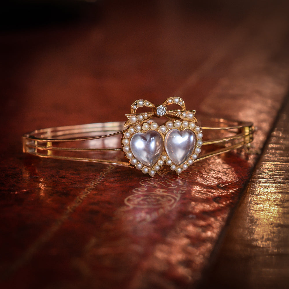 Victorian Moonstone Bowed Double Heart Bangle