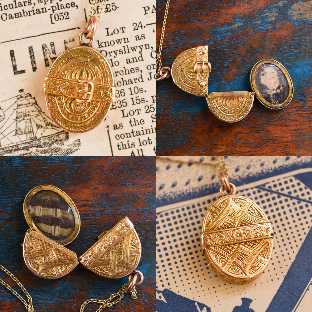 Unusual Victorian 18k Gold Oval Locket