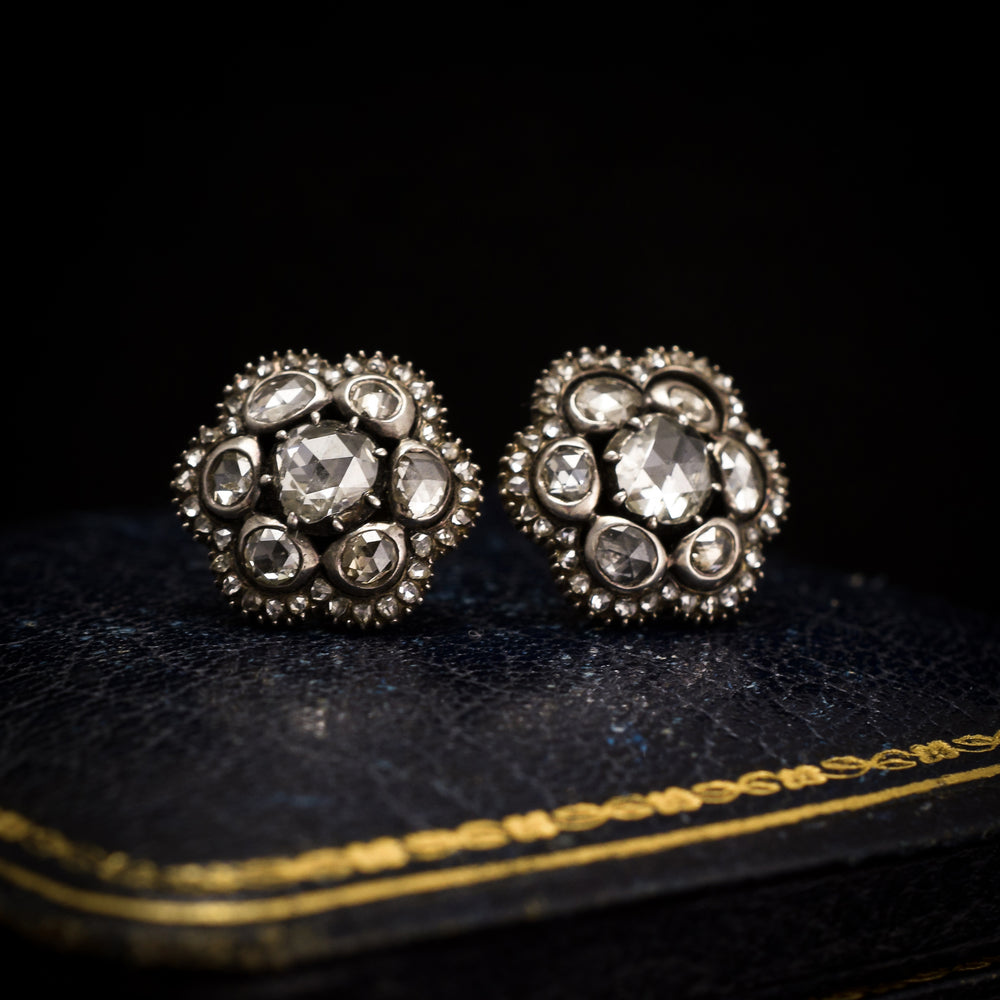 Georgian Rose Cut Diamond Stud Earrings