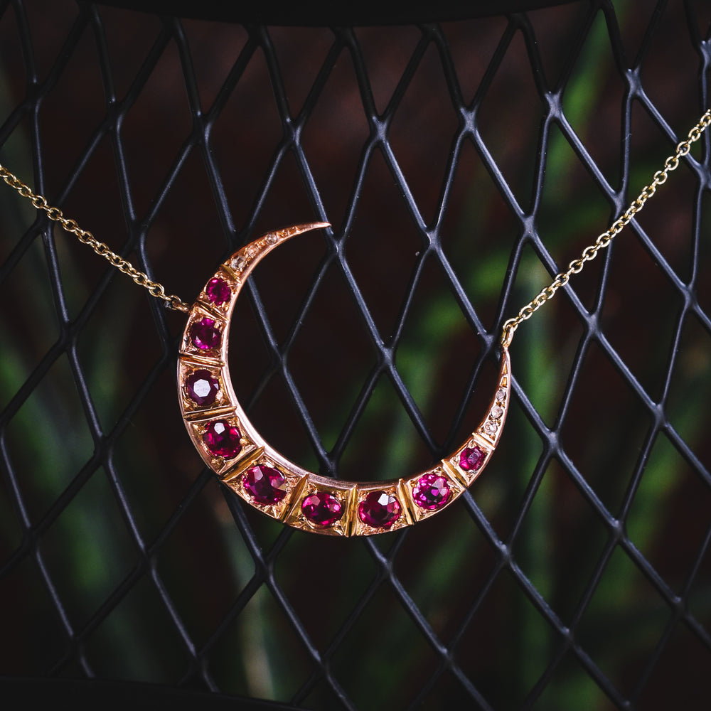 Victorian Ruby & Diamond Crescent Moon Necklace