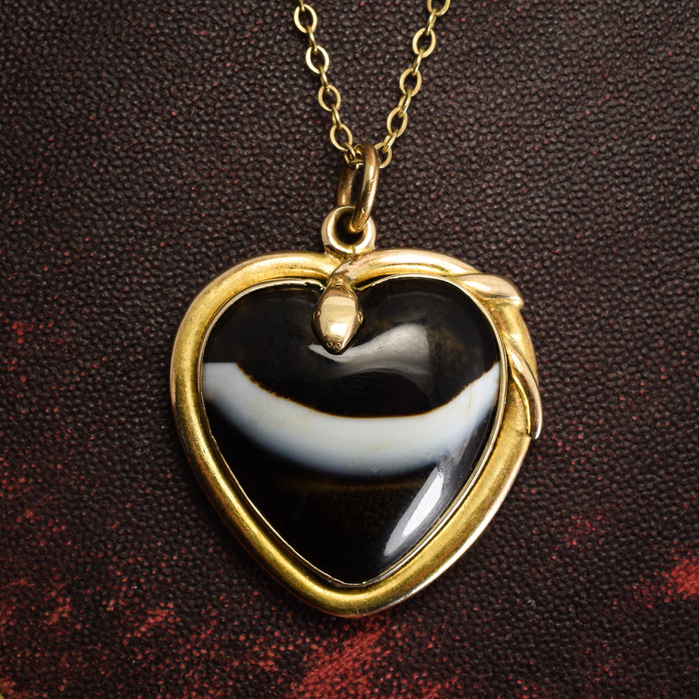 Victorian Banded Agate Serpent Heart Pendant