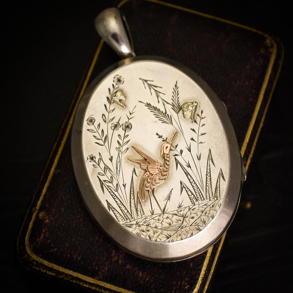 Victorian Aesthetic Movement Silver Oval Locket
