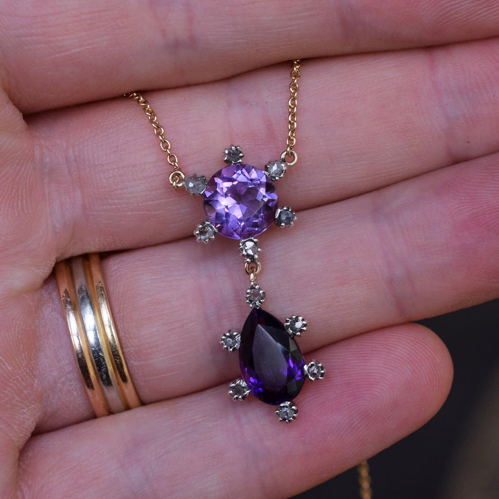 Victorian Twin Amethyst & Diamond Necklace
