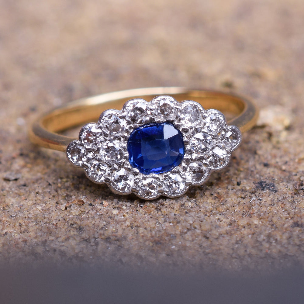 Edwardian Sapphire & Diamond Eye Ring