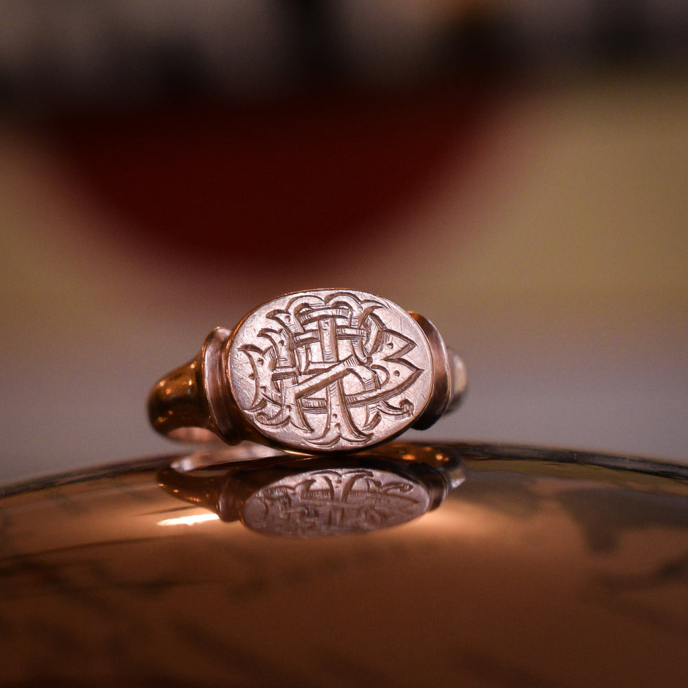 Victorian BRT Monogram Rose Gold Signet Ring