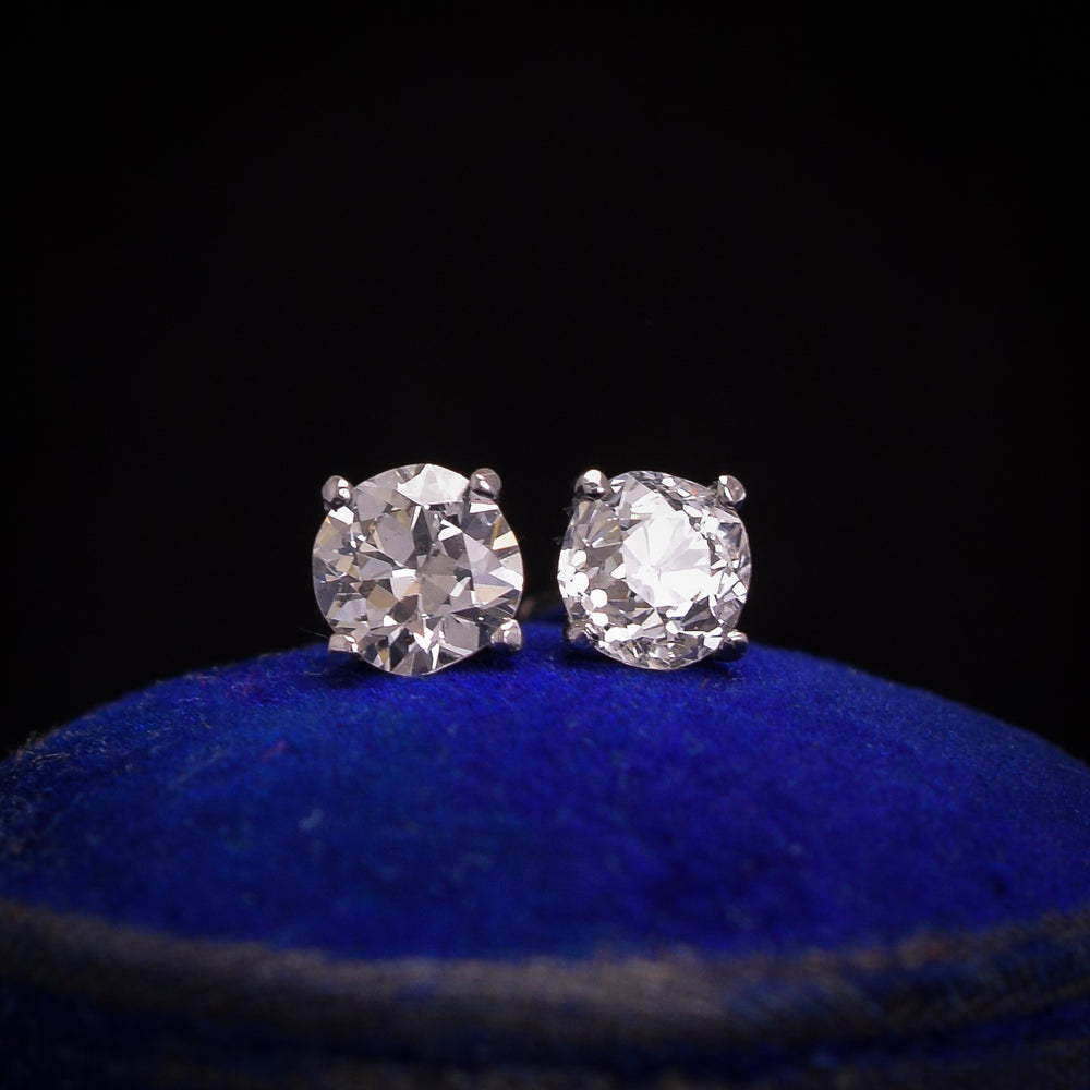 Old Euro Diamond Stud Earrings