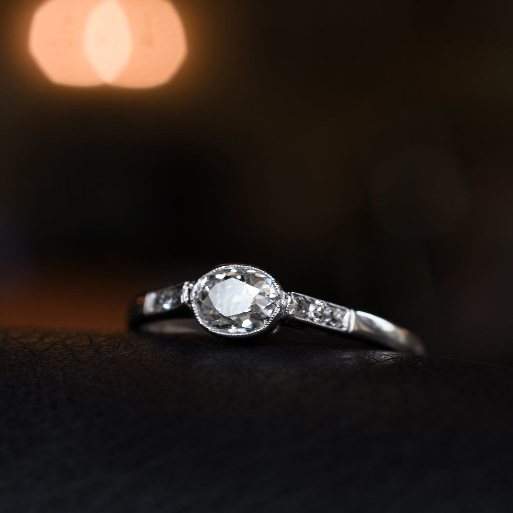 Edwardian Cushion Cut Diamond Solitaire Engagement Ring