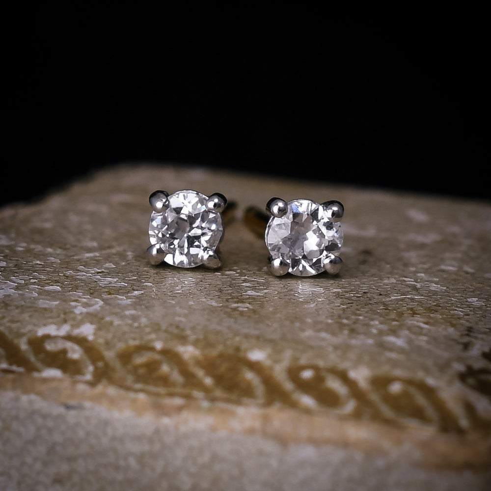 Vintage 0.50ct Old Cut Diamond Stud Earrings