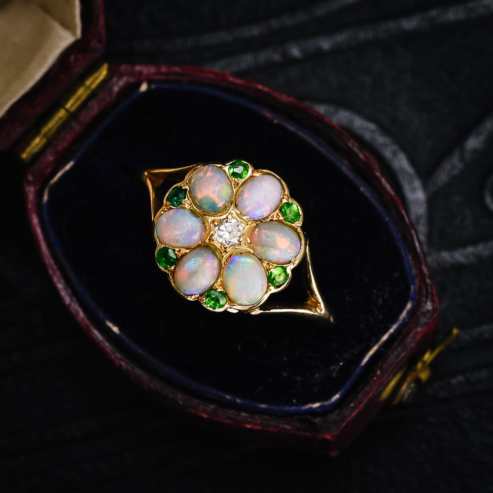 Victorian Opal Diamond & Demantoid Garnet Cluster Ring