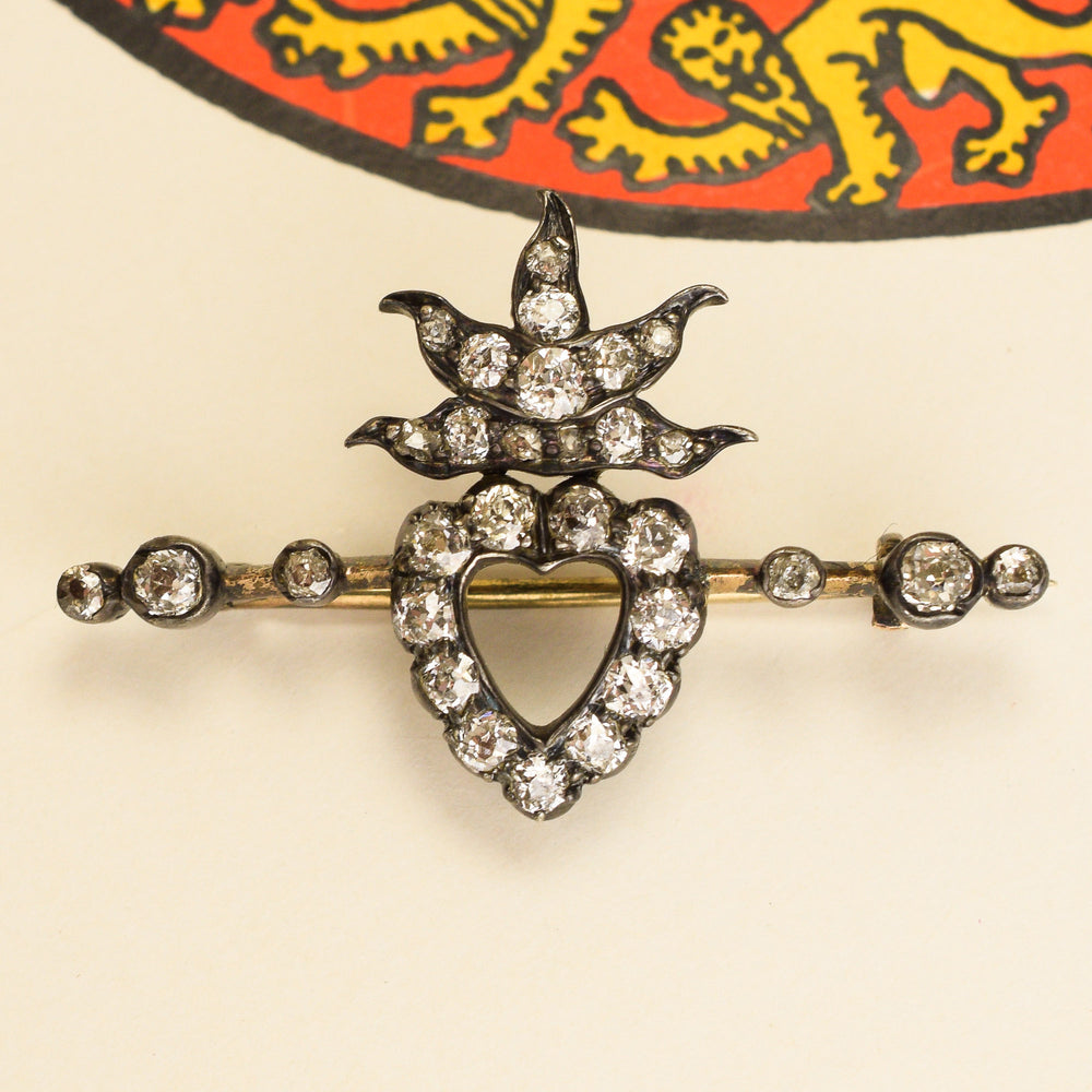 Victorian Diamond Flaming Heart Brooch