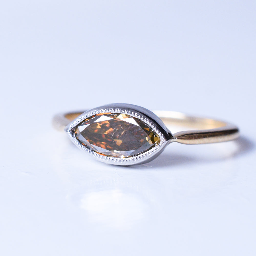 Bespoke .81ct Marquise Cognac Diamond Ring