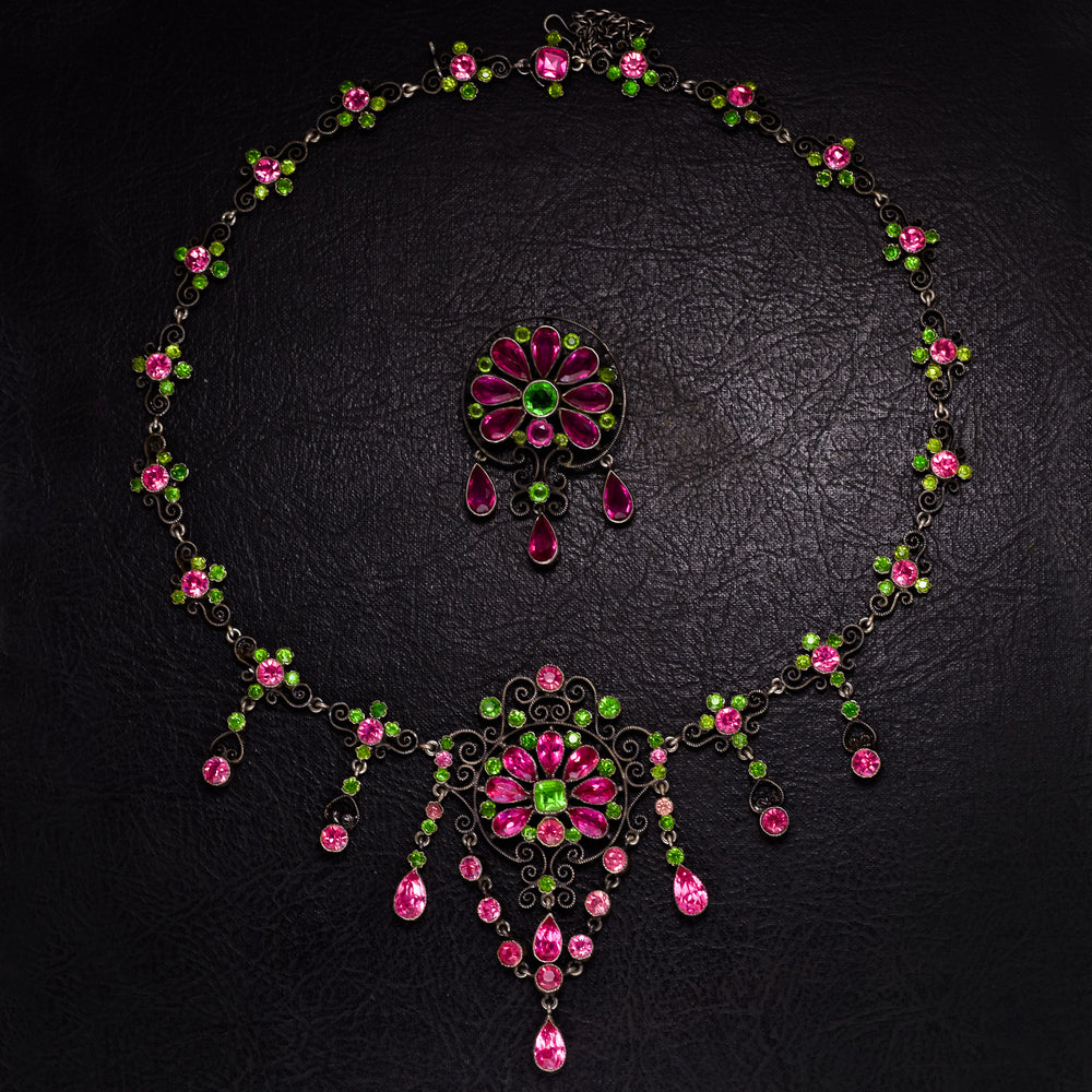Mid Victorian Austro-Hungarian Paste Necklace & Brooch Suite