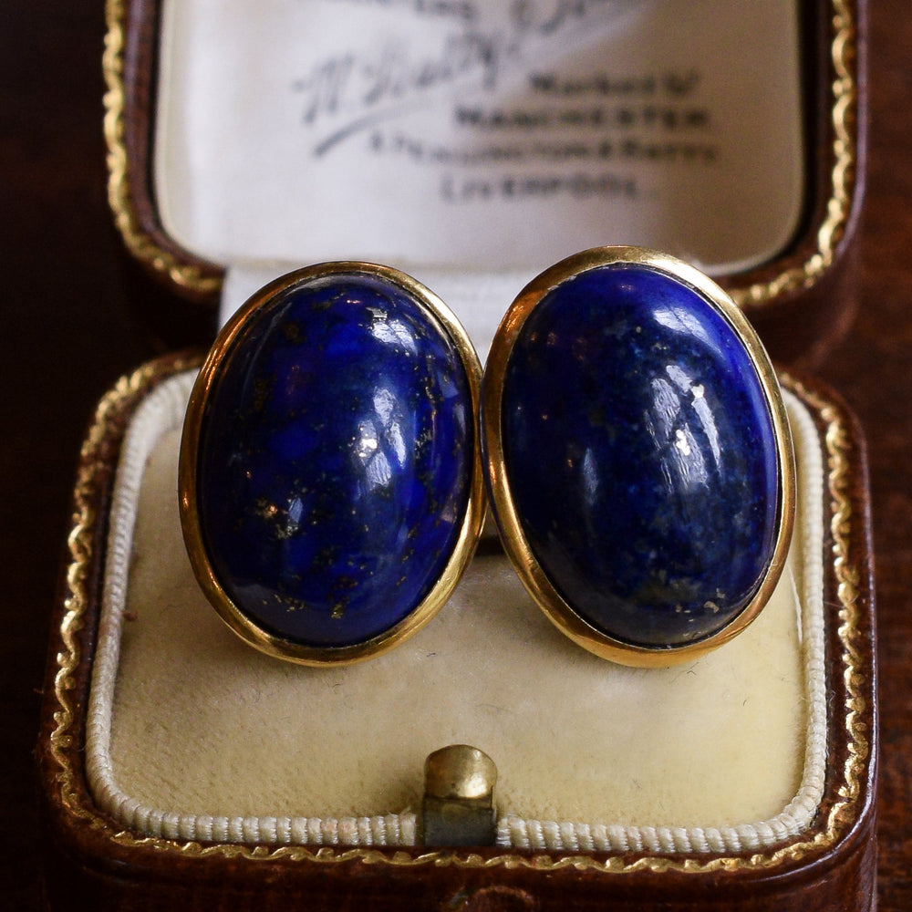 Vintage Lapis Lazuli Stud Earrings
