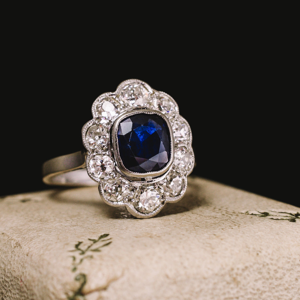 Edwardian Sapphire & Diamond Flower Engagement Ring