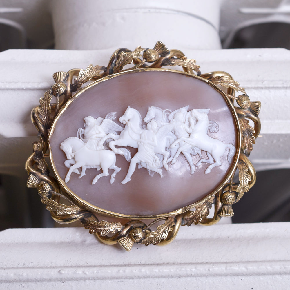 Victorian Hours leading the Horses of the Sun Cameo Brooch